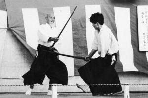 Morihei Ueshiba et Nobuyoshi Tamura